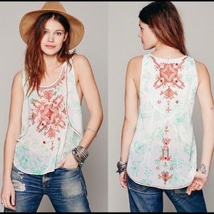 Free People New Romantics Embroidered Tank Top